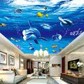 Wallpapers 3D Modern Cartoon Underwater World Dolphin Photo Ceiling Mural Wallpaper Living Room Kids Bedroom Ceiling Fresco,430(W)×300(H)cm