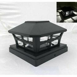 """4-Pc Solar Black Cap LED Light for 6"""" Post Outdoor Post Lights Lamp Post Outdoor Light Pole Light Pole Post Light Outdoor Light Post Light Post Post Lights Pole Lights Outdoor Lamp Post Light"""