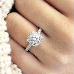 LVSHI Fashion Ring 925 Sterling Silver CZ Ring Zircon Stone Crystal Women's Engagement Rings Cubic Zirconia Promise Rings CZ Engagement Ring for Women Size 6-11 (Size 6)