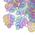 Pandahall 50Pcs Leaf Stainless Steel Filigree Beads Charms Pendants 45.5x34x0.3mm Multi-Color Etched Metal Embellishments Connectors for Jewelry Making