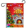 YATELI Garden Yard Flag 28x40 inch Christmas Tree Fireplace Candles Double-Sided Banner for House Home Outdoor Party Decor