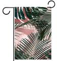 YATELI Garden Yard Flag 28x40 inch Green Tropical Leaves on a Pink Wall Palm Leaves Double-Sided Banner for House Home Outdoor Party Decor
