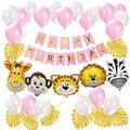 Safari Birthday Decorations Jungle Theme Party Supplies - Happy Birthday Banner Safari Zoo Animal Balloons Artificial Tropical Leaves for Kids Boys Girls Birthday Decor Baby Shower (Pink&Gold)