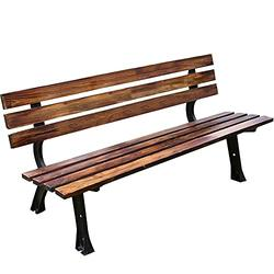 Garden bench 120cm150cm Outdoor Bench, Durable Solid Wood, Seat for 2 People, Cast Iron with Backrest and Armrests, Weatherproof, Anticorrosive