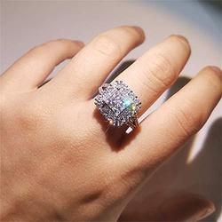 Vintage 925 Sterling Silver Full Diamond Ring Cocktail Rings Square Cut Cubic Zirconia Anniversary Promise Ring CZ Diamond Multi Row Ring Eternity Engagement Wedding Band Ring for Women (US Code 6)