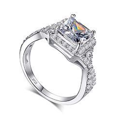 S925 Sterling Silver Shiny Full Diamond Gemstone Ring Cubic Zirconia Rings CZ Diamond Multi Row Ring Eternity Engagement Wedding Band Ring for Women (6)