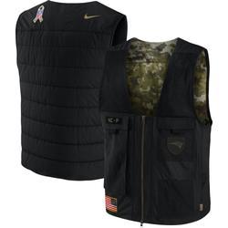 Men's New England Patriots Nike Black/Camo 2020 Salute to Service Logo Utility Full-Zip Vest
