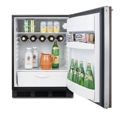 Summit Appliance 5.5 Cubic Feet cu. ft. Mini Fridge Metal in Black/Brown, Size 32.25 H x 23.5 W x 25.25 D in   Wayfair FF63BKBIWP1ADA