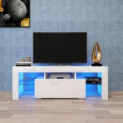 Ivy Bronx Black TV Stand w/ LED Lights,Flat Screen TV Cabinet, Gaming Consoles - In Lounge Room, Living Room & Bedroom Wood in White   Wayfair