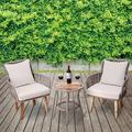 Bay Isle Home™ Lostwithiel 3 Piece Rattan Seating Group w/ Cushions Wood/Natural Hardwoods/Wicker/Rattan in Brown/Gray/White | Wayfair PT-OF0008