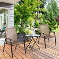 Latitude Run® Set Of 2 Patio Chairs Outdoor Dining Chair w/ Armrest-Metal in Brown, Size 35.5 H x 22.0 W x 28.5 D in | Wayfair