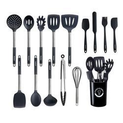 Chefgiant 15 Piece Silicon Kitchen Utensil Set Stainless Steel/Silicone/Plastic in Black | Wayfair CGK6155