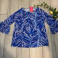 Lilly Pulitzer Tops   New Lilly Pulitzer Xxs Blue Leaf Print Blouse   Color: Blue   Size: Xxs