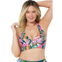 Plus Size Women's Allure Longline Halter Bikini Top by Swimsuits For All in Summer Tropic (Size 22)