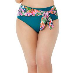 Plus Size Women's High Waist Sash Bikini Bottom by Swimsuits For All in Summer Tropic (Size 8)