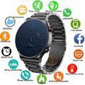 Montre connectée de luxe pour hommes, bracelet en acier avec écran tactile, connexion Bluetooth,