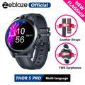 Montre connectée Zeblaze THOR 5 PRO, bracelet en cuir gratuit, écouteurs TWS, lunette en céramique,