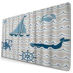 CANCAKA Large Gaming Mouse Pad,Nautical Wave Pattern with Nautical Elements Icons Octopus Crab Starfish and Whale,Non-Slip Rubber Mouse Pads Mousepad for Gaming Computer Office Desk,75×40×0.3cm
