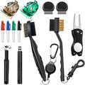 13 Pieces Golf Club Cleaner Set, 2 Kinds of Golf Club Brush, Foldable Divot Repair Tool, Golf Ball Marker Golf Marker Pens, Golf Club Groove Sharpener Golf Club Cleaning Kit