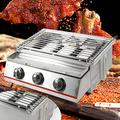Stainless Steel BBQ 3 Burners Propane Gas Grill Outdoor Portable BBQ Grill Set Camping Gas Grill Stainless Steel for Outdoor Cooking Patio Garden BBQ Picnic Tailgating Trip Home Use