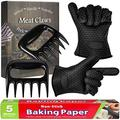 2 Pieces Bear Claw Meat Shredder Solid Plastic Meat Shredder Silicone BBQ Gloves Barbecue Grill Gloves Unbleached Parchment Baking Paper Roll for Barbecue Smoker Grill