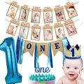 1st Birthday Boy Decorations Set WITH Baby BOY 's First Birthday Burlap Hignchair Banner ,Number One Banner,Birthday Crown,Cake Topper and 1st Birthday Baby Photo Banner,First Birthday Celebration Decoration