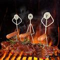 Qiajgha Steel Hot Dog/Marshmallow Roasters, Novelty Shaped Stainless Steel Camp Fire Roasting Stick, Funny Metal Craft Barbecue Forks for Campfire,BBQ and Grill (3 Hot Dog Guys)