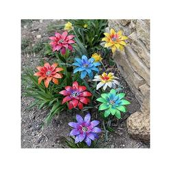 Apgize Daylily Flower Garden Stakes Decor, Metal Daylily Flower Garden Stakes,Metal Daylily Flower Garden Stakes Decor Garden Decorations for Lawn Yard Patio (7 PCS)