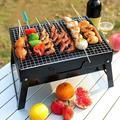 Innens BBQ Barbecue Grill Fold Portable Charcoal Stove Camping Garden Outdoor BBQ SetCast Iron in Black/Gray, Size 7.6 H x 13.7 W x 2.1 D in Wayfair