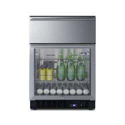 Summit Appliance 110 Cans (12 oz.) Freestanding Beverage Refrigerator w/ Wine Storage Stainless Steel/Glass in Gray | Wayfair SCR615TD