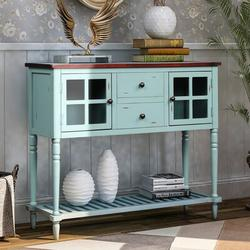 Darby Home Co Sideboard Console Table w/ Bottom Shelf, Farmhouse Wood/Glass Buffet Storage Cabinet Living RoomWood in Blue | Wayfair