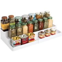 Prep & Savour Plastic Adjustable, Expandable Kitchen Cabinet, Pantry, Shelf Organizer/Spice Rack w/ 4 Tiered Levels Of Storage For Spice Bottles