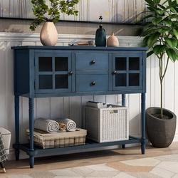 Darby Home Co Sideboard Console Table w/ Bottom Shelf, Farmhouse Wood/Glass Buffet Storage Cabinet Living RoomWood in Blue   Wayfair