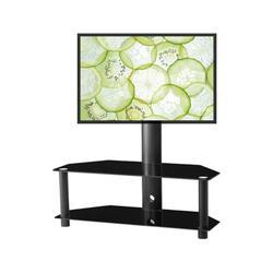 Latitude Run® Multi-Function Angle & Height Adjustable Tempered Glass Metal Frame Floor TV Stand in Black/Brown/Green | Wayfair