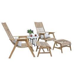 Joss & Main Devair 5 Piece Rattan Seating Group Set All - Weather Wicker/Wood/Natural Hardwoods/Wicker/Rattan in Brown/White | Wayfair