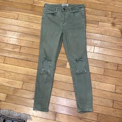 Free People Jeans | Free People Distressed Jeans Denim Pants Bottoms | Color: Green | Size: 28