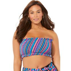 Plus Size Women's Monarch Smocked Bandeau Bikini Top by Swimsuits For All in Multi Diagonal (Size 6)
