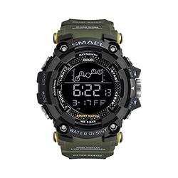 Men Digital Watches, Multifunctional Waterproof Sport Watch Men 50M Waterproof LED Digital Watches Big Dial Clock Wrist Watches for Male 1802 (Army Green)