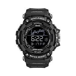 Men Digital Watches, Multifunctional Waterproof Sport Watch Men 50M Waterproof LED Digital Watches Big Dial Clock Wrist Watches for Male 1802 (Black)