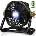 Floor Fan Battery Operated with Light - Portable Outdoor Fan with 1000LM LED Work Light | 3500CFM High Velocity Airflow | 14400mAh Battery Powered Fan for Jobsite & Industrial