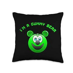 Funny Cute Kids I'm a Gummy Bear Cartoon Gift Tees Funny Cute Kids I'm a Gummy Bear Cartoon Gift Throw Pillow, 16x16, Multicolor