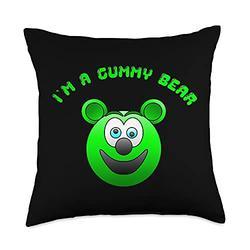 Funny Cute Kids I'm a Gummy Bear Cartoon Gift Tees Funny Cute Kids I'm a Gummy Bear Cartoon Gift Throw Pillow, 18x18, Multicolor