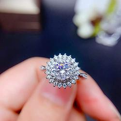 Shiny Full Diamond Ring 1Carat Round Cut Cubic Zirconia Promise Wedding Ring for Women Silver Ring CZ Cocktail Ring Eternity 950 Platinum Simulate Moissanite Ring Adjustable Ring 070