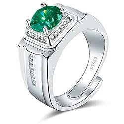 Shiny Full Diamond Ring 2Carat Round Cut Cubic Zirconia Promise Ring Wedding Ring for Men Silver Ring CZ Cocktail Ring Eternity 950 Platinum Bluish Green Simulate Moissanite Ring Adjustable Ring 071