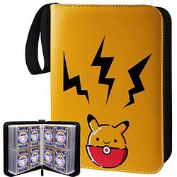 Trading Card Binder with Sleeves Compatible with Pokemon Cards, Baseball Card Holder Album with Sleeves, Book Best Protection Trading Cards - 4 Pocket 50 Pages - Put up to 400 Cards(Pika-Yellow)