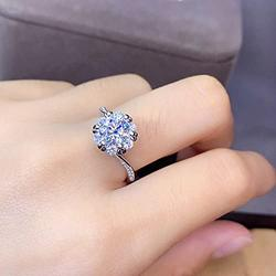 Shiny Full Diamond Ring 2Carat Round Cut Cubic Zirconia Promise Wedding Ring for Women Silver Ring CZ Cocktail Ring Eternity 950 Platinum Simulate Moissanite Ring Adjustable Ring 069