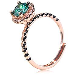 Shiny Full Diamond Ring 1Carat Round Cut Cubic Zirconia Promise Ring Wedding Ring for Women Silver Ring Eternity 950 Planum Bluish Green Simulate Moissanite CZ Cocktail Ring Adjustable Ring 072