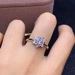Shiny Full Diamond Ring 2Carat Round Cut Cubic Zirconia Promise Wedding Ring for Women Silver Ring CZ Cocktail Ring Eternity 950 Platinum Simulate Moissanite Ring Adjustable Ring 067