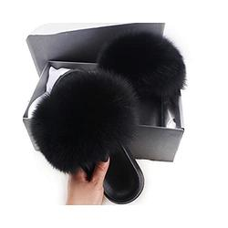 faux raccoon faux Fur Slippers for Women faux Fur Slides Flip Flops beach p fluffy faux Furry designer slippers sandals-Black Fox faux Fur-7
