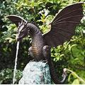 Statue/Fountain Dragon Patinated Bronze Fine Cast Solid Bronze Water Feature Sculpture, Gothic Garden Decor Statue - Dragon Garden Statue Faux Stone Resin Sculpture for Home Outdoor Decoration